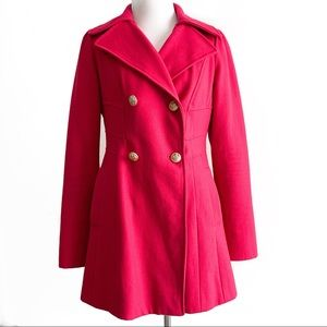 Guess Hot Pink Double Breasted Pea Coat